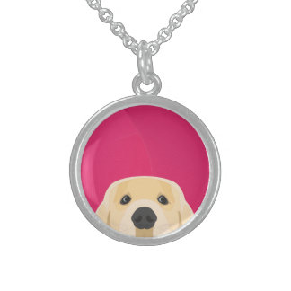 Illustration Golden Retriver with pink background Sterling Silver Necklace