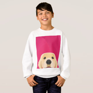 Illustration Golden Retriver with pink background Sweatshirt
