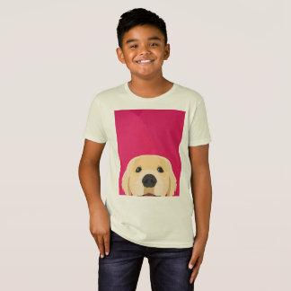 Illustration Golden Retriver with pink background T-Shirt