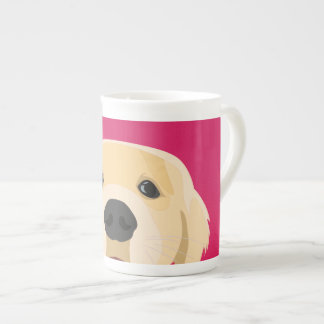 Illustration Golden Retriver with pink background Tea Cup