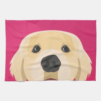 Illustration Golden Retriver with pink background Tea Towel