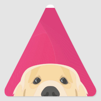 Illustration Golden Retriver with pink background Triangle Sticker