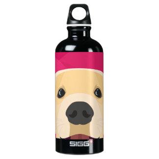 Illustration Golden Retriver with pink background Water Bottle