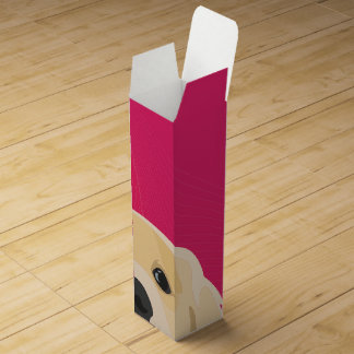 Illustration Golden Retriver with pink background Wine Box