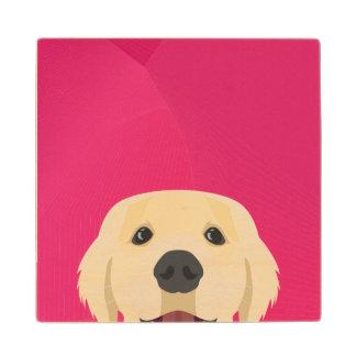 Illustration Golden Retriver with pink background Wood Coaster