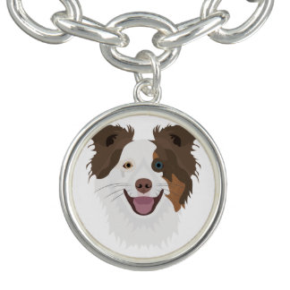Illustration happy dogs face Border Collie