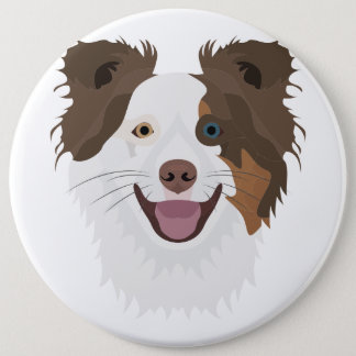 Illustration happy dogs face Border Collie 6 Cm Round Badge