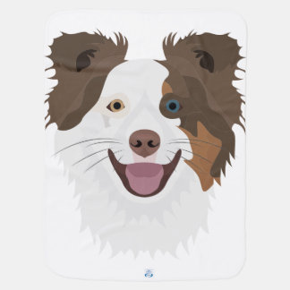 Illustration happy dogs face Border Collie Baby Blanket