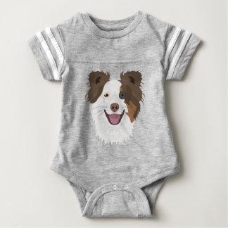 Illustration happy dogs face Border Collie Baby Bodysuit