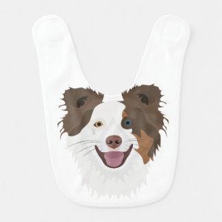 Illustration happy dogs face Border Collie Bib