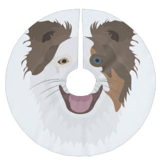Illustration happy dogs face Border Collie Brushed Polyester Tree Skirt