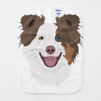 Illustration happy dogs face Border Collie Burp Cloth