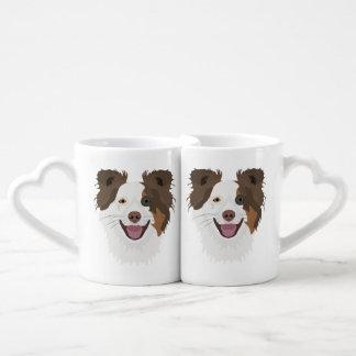 Illustration happy dogs face Border Collie Coffee Mug Set
