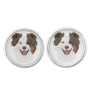 Illustration happy dogs face Border Collie Cufflinks