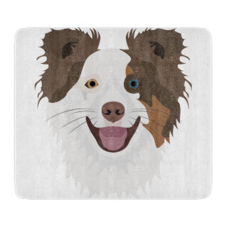 Illustration happy dogs face Border Collie Cutting Board