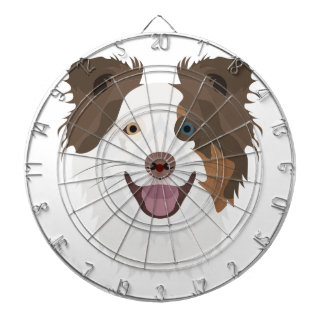 Illustration happy dogs face Border Collie Dartboard