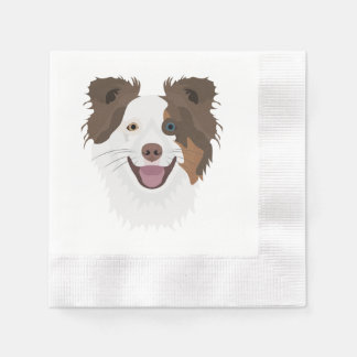 Illustration happy dogs face Border Collie Disposable Napkin