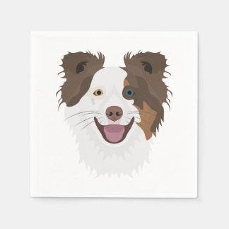 Illustration happy dogs face Border Collie Disposable Serviette