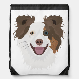 Illustration happy dogs face Border Collie Drawstring Bag