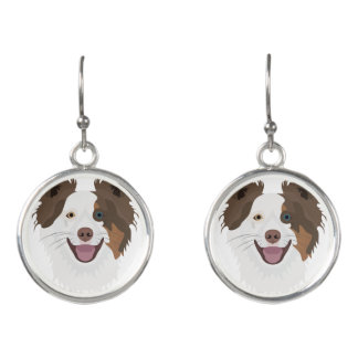 Illustration happy dogs face Border Collie Earrings