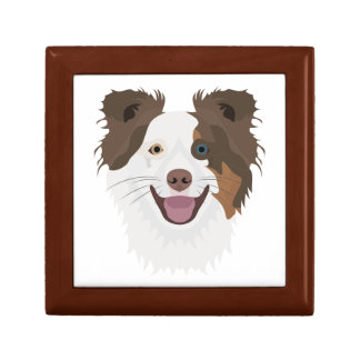 Illustration happy dogs face Border Collie Gift Box