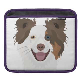 Illustration happy dogs face Border Collie iPad Sleeve