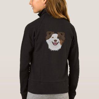 Illustration happy dogs face Border Collie Jacket