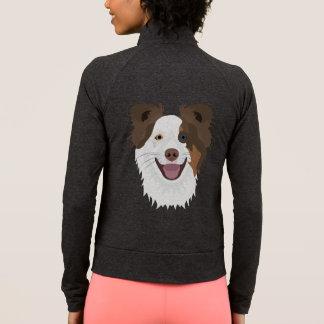 Illustration happy dogs face Border Collie Jacket