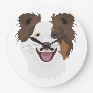 Illustration happy dogs face Border Collie Large Clock