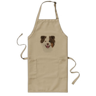 Illustration happy dogs face Border Collie Long Apron