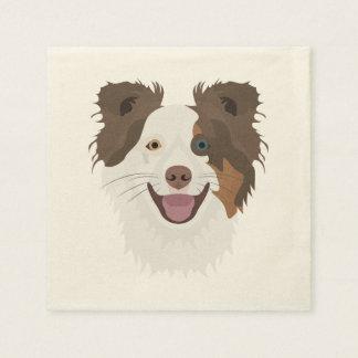 Illustration happy dogs face Border Collie Paper Napkin