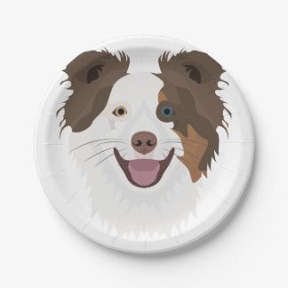 Illustration happy dogs face Border Collie Paper Plate