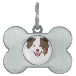 Illustration happy dogs face Border Collie Pet ID Tag