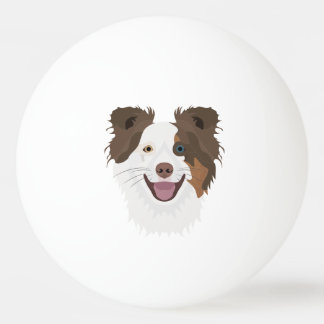 Illustration happy dogs face Border Collie Ping Pong Ball