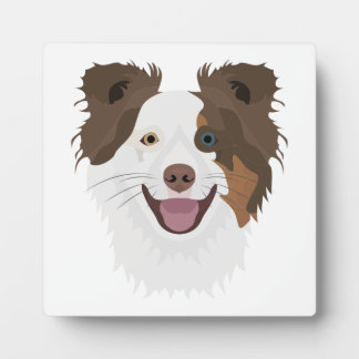 Illustration happy dogs face Border Collie Plaque