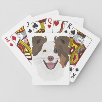 Illustration happy dogs face Border Collie Playing Cards