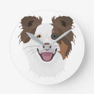 Illustration happy dogs face Border Collie Round Clock