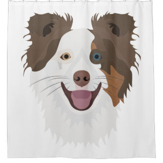 Illustration happy dogs face Border Collie Shower Curtain