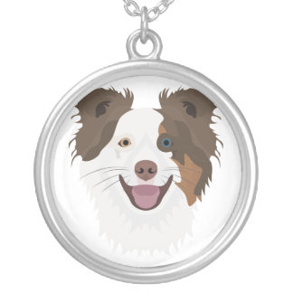 Illustration happy dogs face Border Collie Silver Plated Necklace