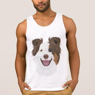 Illustration happy dogs face Border Collie Singlet