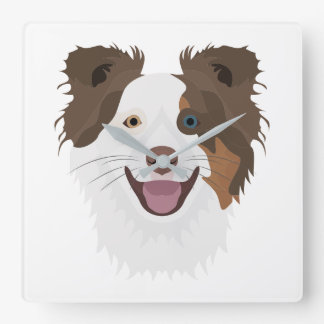 Illustration happy dogs face Border Collie Square Wall Clock