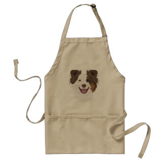 Illustration happy dogs face Border Collie Standard Apron