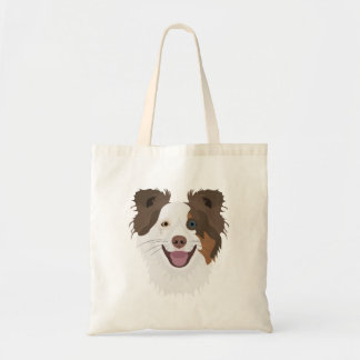 Illustration happy dogs face Border Collie Tote Bag
