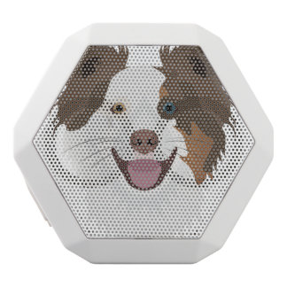 Illustration happy dogs face Border Collie White Bluetooth Speaker