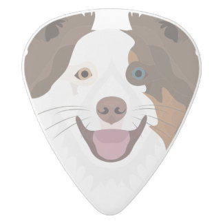 Illustration happy dogs face Border Collie White Delrin Guitar Pick