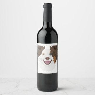 Illustration happy dogs face Border Collie Wine Label