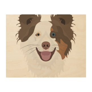 Illustration happy dogs face Border Collie Wood Wall Art