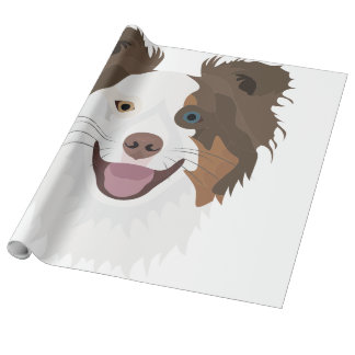 Illustration happy dogs face Border Collie Wrapping Paper