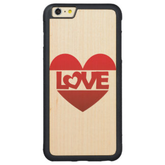 Illustration Heart with lettering LOVE in red Carved® Maple iPhone 6 Plus Bumper Case