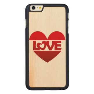 Illustration Heart with lettering LOVE in red Carved® Maple iPhone 6 Plus Case